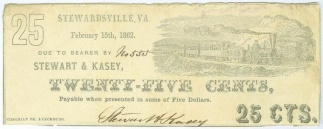 1862 Stewart & Kasey, Virginia 25 Cents Note