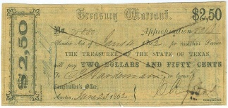 1862, $2.50 Texas Treasury Warrant