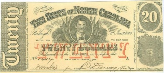 1863 North Carolina $20 Note