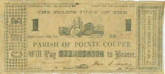 1862 Parish Of Pointe Coupee, Louisiana $1 Note