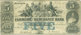 1852 Farmers And Merchants Bank Of Memphis $5 Note