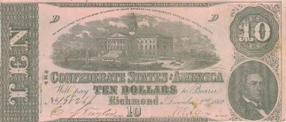 1862 Confederate $10 Note