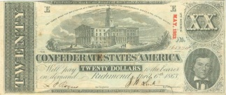 1863 Confederate $20 Note