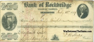 1859 Bank Of Rockbridge, State Of Virginia Note