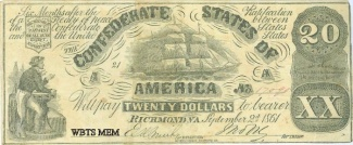 1861 Confederate Era Counterfeit $20 Note