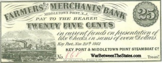 1862 Farmers & Merchants Bank, New Jersey, 25 Cents Note