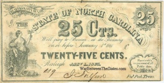 1863 State Of North Carolina 25 Cents Note