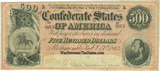 1864 Confederate $500 Note
