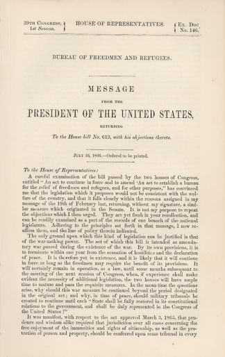 Imprint, Message From President Andrew Johnson