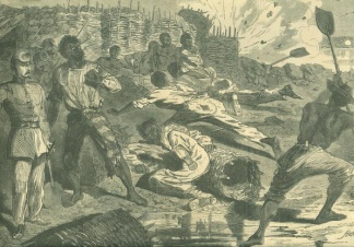 Shell Bursting Among The Negroes In The Rebel Trenches