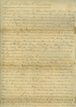 1852 South Carolina Slave Bill Of Sale