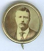 Theodore Roosevelt Button With Photograph