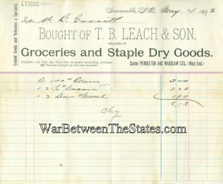 1893 Grocery Store Invoice, Greenville South Carolina