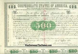 1861 Confederate $500 Bond