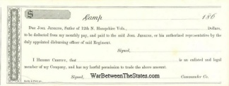 12th New Hampshire Infantry Sutler Script