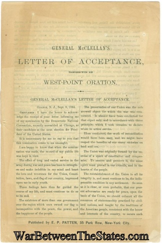 General Mcclellan's Letter Of Acceptance