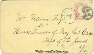 Civil War Cover Addressed To The Care Of Major General Ord