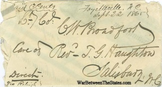 Cover Addressed To Confederate Lieutenant Colonel