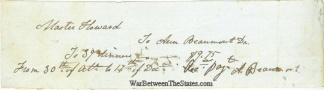 Receipt For Dinners For A Confederate Major