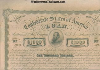 1863 Confederate $1,000 Bond, General Stonewall Jackson