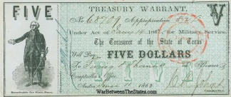1862 State Of Texas $5 Treasury Warrant For Military Service