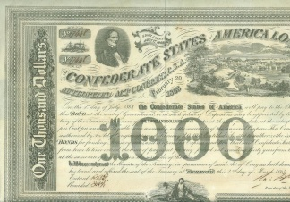 1863 Confederate $1,000 Bond- Jefferson Davis