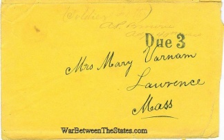 Cover Sent By Adjutant Of The 40th Massachusetts Infantry