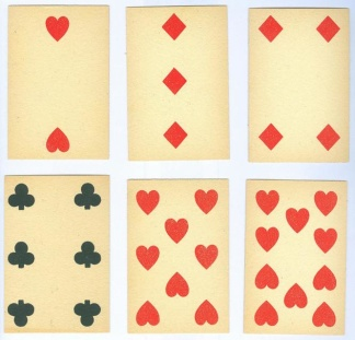 Group Lot Of 6 Antique Playing Cards