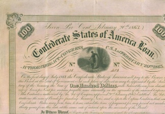 1863 Confederate $100 Bond