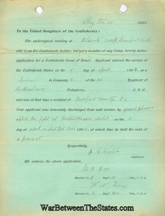 Application For A Confederate Cross Of Honor