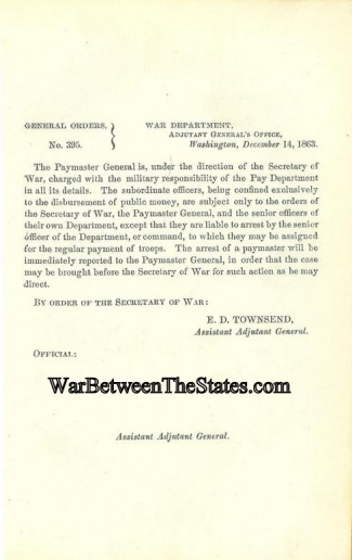 1863 Order Regarding The Paymaster General & Pay Department