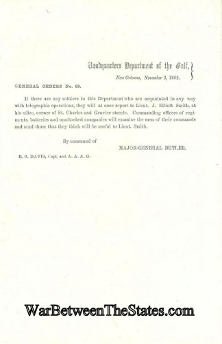 General Butler Sends Out Call For Telegraph Operators