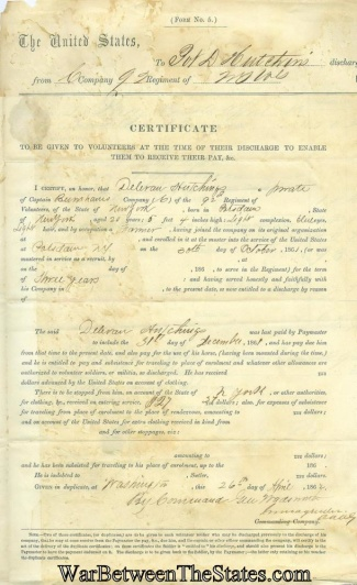 Certificate Issued At Discharge, 92nd New York Infantry