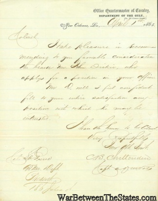 Letter From Office Q.m. Cavalry, Department Of The Gulf